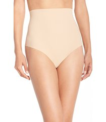 women's commando control top thong, size x-large - beige