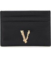 versace virtus leather card holder