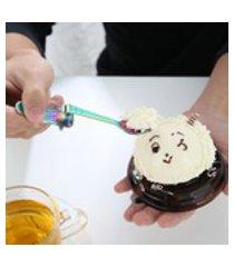 5 pcs mais recente design requintado sereia de aço inoxidável colher de café sobremesa colher de sorvete criativo colher de dobra bonito pendurado colher lateral colher moda novidade drinkware ferramentas vale a pena ter 5 cores