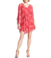 halston heritage floral cape overlay long sleeve minidress, size medium in poppy kaleidoscope pt. at nordstrom