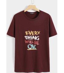 basics koyye camiseta cómoda con estampado informal de letras para hombre