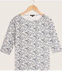 camiseta manga 3/4 estampada cuello redondo-l