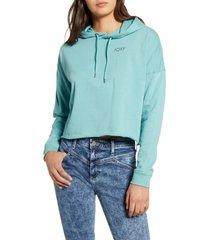 women's roxy neon sunrise hoodie, size large - blue/green