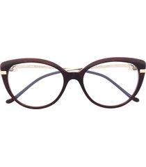 cartier eyewear panthère cat-eye glasses - brown