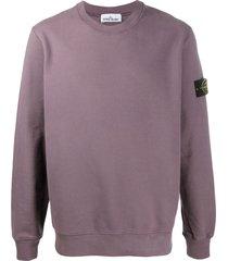stone island long-sleeved logo patch sweater - purple
