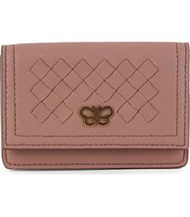 bottega veneta women's butterfly intrecciato leather card holder - mauve