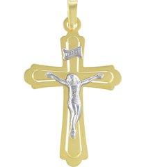 ciondolo croce in oro bicolore per unisex