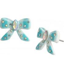 betsey johnson gingham bow stud earrings