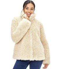 abrigo peludo mujer camel corona