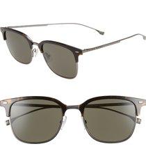 men's boss 53mm special fit semi rimless sunglasses - dark havana