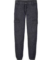 jeans cargo in cotone biologico regular fit straight (nero) - rainbow
