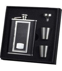 visol sp black leather cigarette case-deluxe hip flask gift set - 6 oz