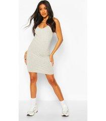 basic strappy cami bodycon dress, grey marl
