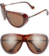 women's moncler 66mm mirrored tinted aviator sunglasses - shiny red havana/ brown
