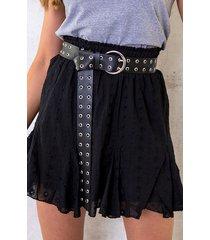 katoenen rok embroidery zwart