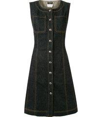 chanel pre-owned 1997 stitching details denim dress - blue