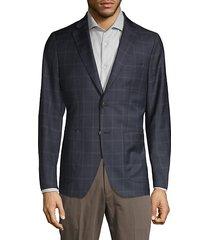 windowpane check wool blend sport jacket