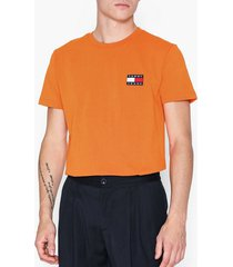tommy jeans tjm tommy badge tee t-shirts & linnen orange