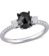 black and white diamond (1 1/5 ct. t.w.) 3-stone engagement ring in 14k white gold