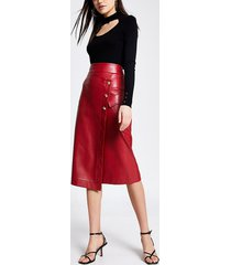 river island womens red faux leather wrap midi skirt