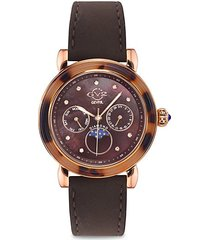 moon valley stainless steel, mother-of-pearl, diamond & suede-strap watch