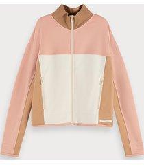 scotch & soda cotton blend long sleeve colour-block zip up sweatshirt