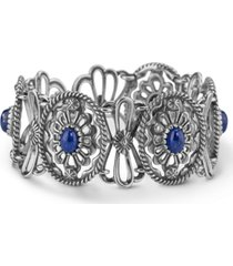 american west sterling silver blue lapis concho link bracelet in sterling silver