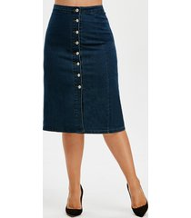 button up front slit denim plus size skirt