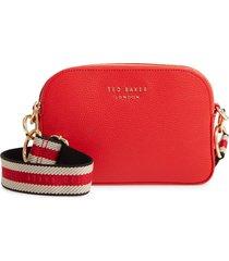 ted baker london amerrah branded strap leather crossbody bag - red