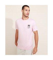 camiseta masculina paisagem manga curta gola careca rosa claro