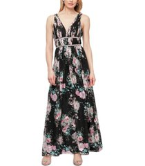 alex evenings beaded-waist pleated gown
