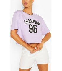 slogan boxy cropped t shirt, lilac