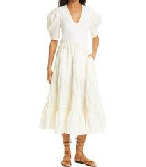 women's ulla johnson rory mixed media cotton a-line dress, size small - white