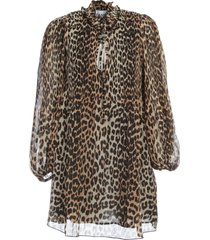 ganni pleated georgette coat leopard printing