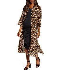 women's angel maternity print maternity tank dress & duster cardigan, size x-large - brown