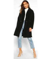 luxe geborstelde wollook jas met knopen