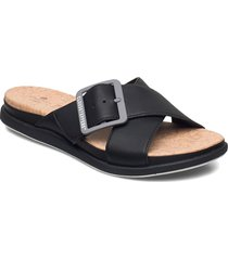 step juneshell shoes summer shoes flat sandals svart clarks