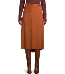 johanna ortiz women's crinkle midi skirt - dark caramel - size 2
