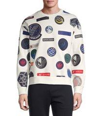 emporio armani men's universe graphic logo sweatshirt - white - size l