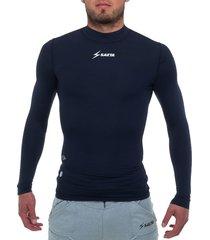 camiseta licrada manga larga azul oscuro saeta moldfit