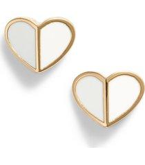 kate spade new york heart stud earrings in white at nordstrom
