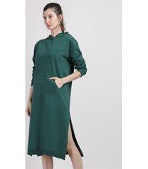 vestido blusão de moletom feminino mindset midi com capuz e bolso manga longa verde escuro