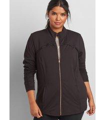 lane bryant women's livi pleat-trim jacket with wicking - black 38/40 black