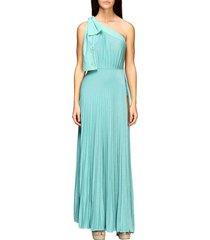 elisabetta franchi dress elisabetta franchi long one-shoulder dress in lurex fabric with logo