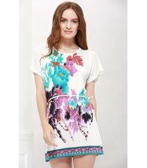 bat-wing sleeve floral print lace-up gorgeous scoop neck women 's blouse