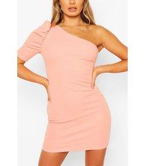 mini-jurk met één schouder en pofmouwen, perzik