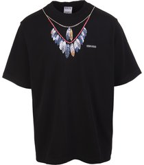 man black double chain feathers t-shirt