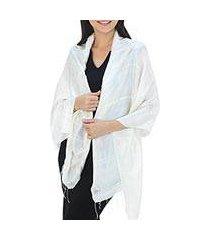 silk shawl, 'shimmering cream' (thailand)