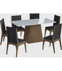conjunto mesa c/ base 6 cadeiras marrom mã³veis canã§ã£o - marrom - dafiti