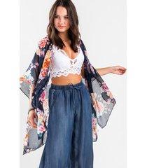 liliha floral kimono - navy